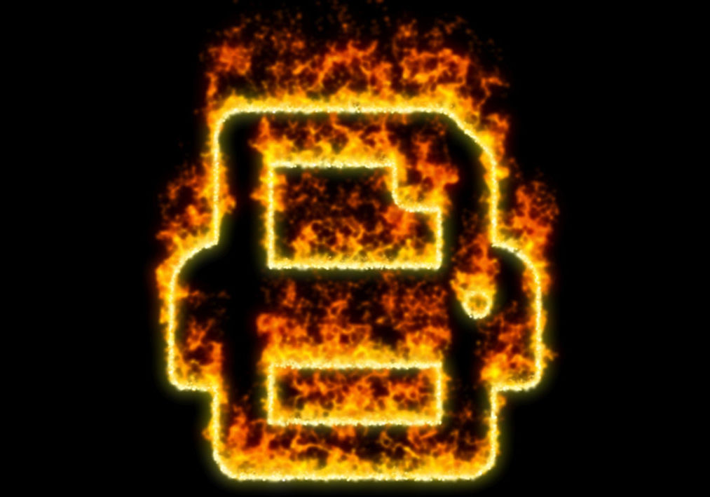 The symbol print burns in red fire